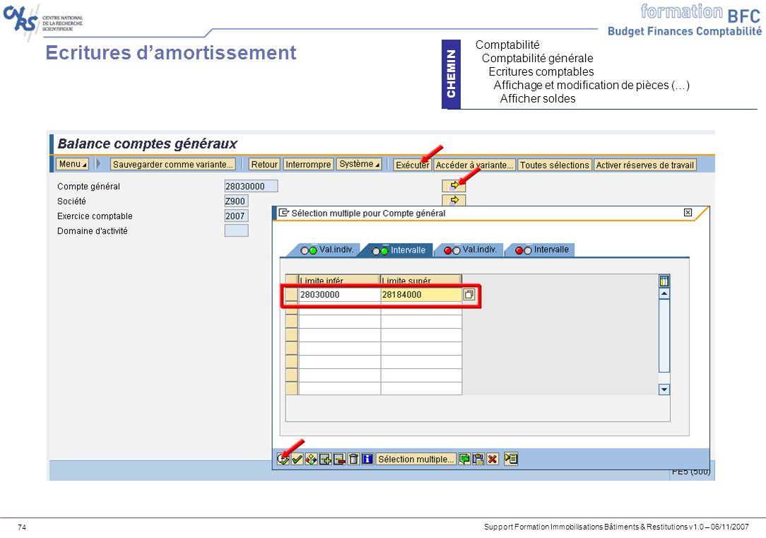 Support Formation Immobilisations Bâtiments & Restitutions v1.0 – 06/11/2007 74 Ecritures damortissement CHEMIN Comptabilité Comptabilité générale Ecr