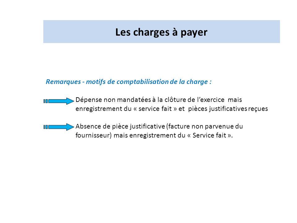 Remarques - motifs de comptabilisation de la charge : Dépense non mandatées à la clôture de lexercice mais enregistrement du « service fait » et pièce