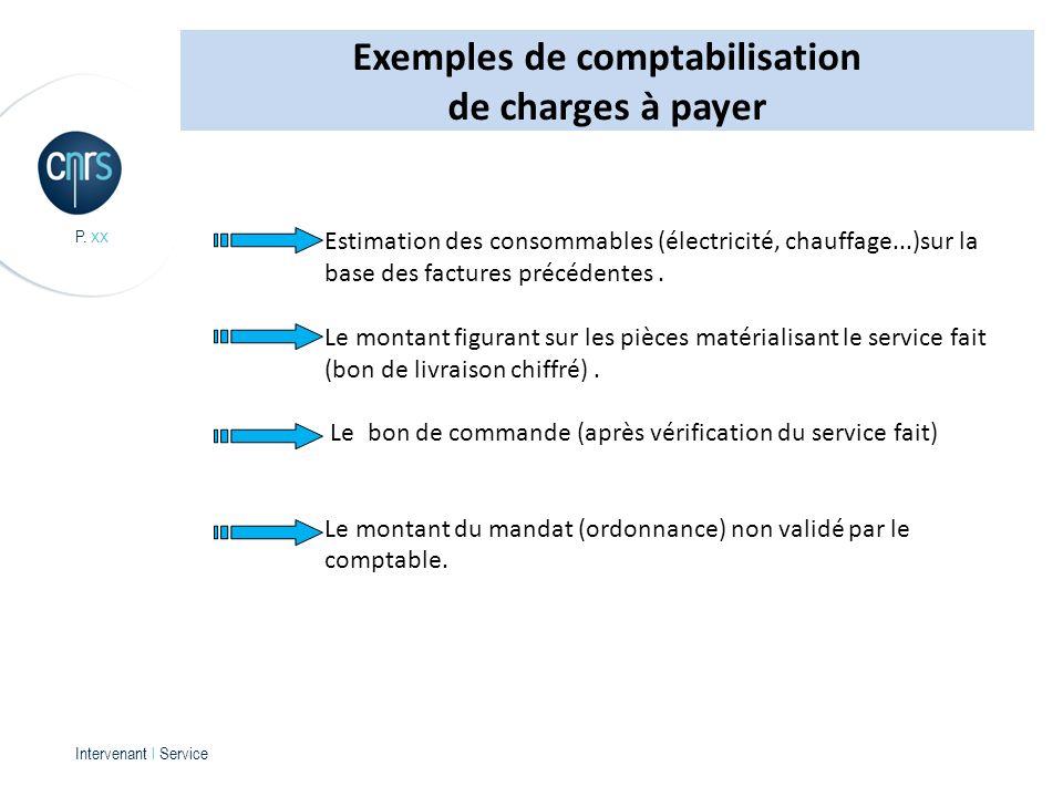 Intervenant l Service P. xx Estimation des consommables (électricité, chauffage...)sur la base des factures précédentes. Le montant figurant sur les p