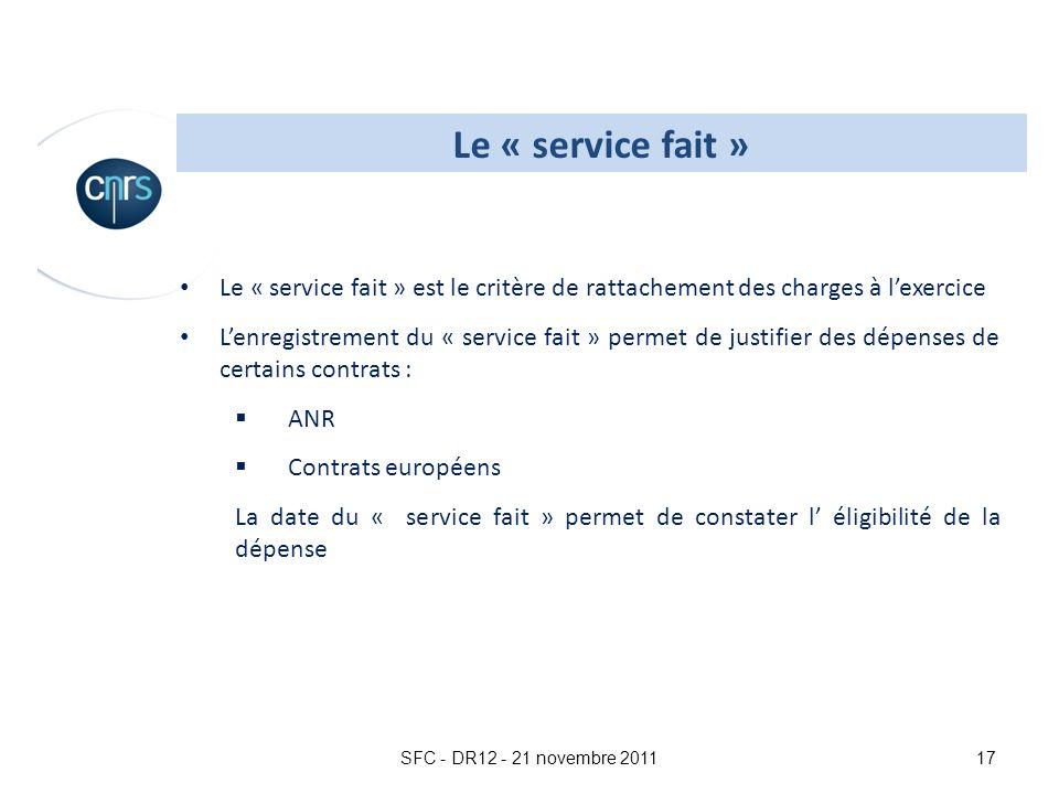 SFC - DR12 - 21 novembre 201117 Le « service fait » est le critère de rattachement des charges à lexercice Lenregistrement du « service fait » permet