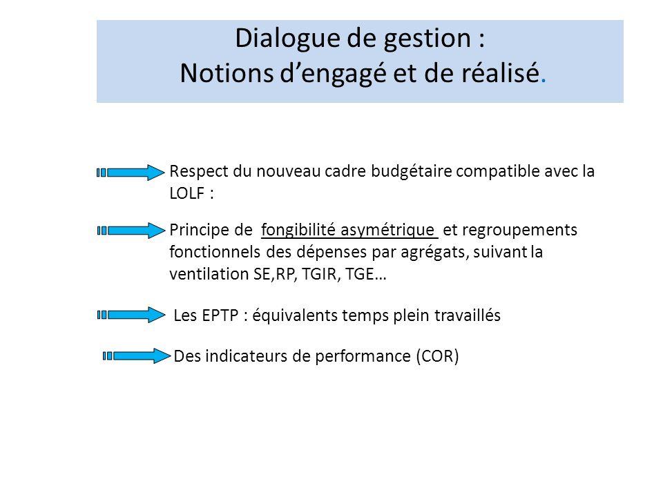 Dialogue de gestion : Notions dengagé et de réalisé. Respect du nouveau cadre budgétaire compatible avec la LOLF : Principe de fongibilité asymétrique