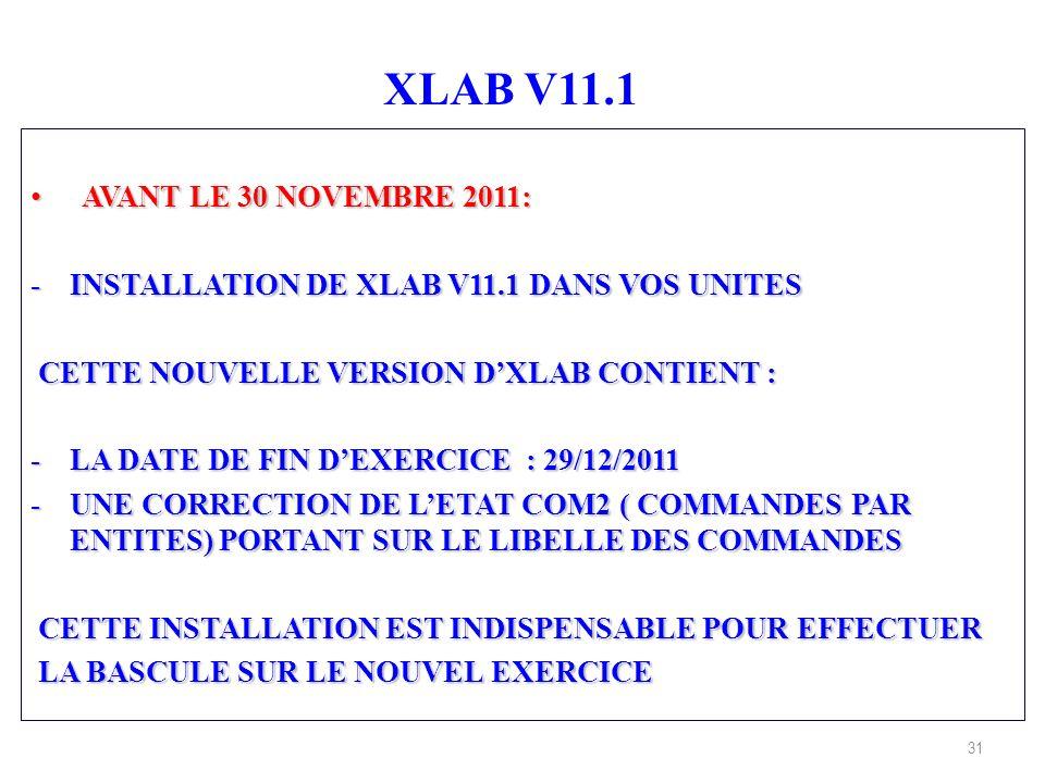 31 XLAB V11.1 AVANT LE 30 NOVEMBRE 2011: AVANT LE 30 NOVEMBRE 2011: -INSTALLATION DE XLAB V11.1 DANS VOS UNITES CETTE NOUVELLE VERSION DXLAB CONTIENT