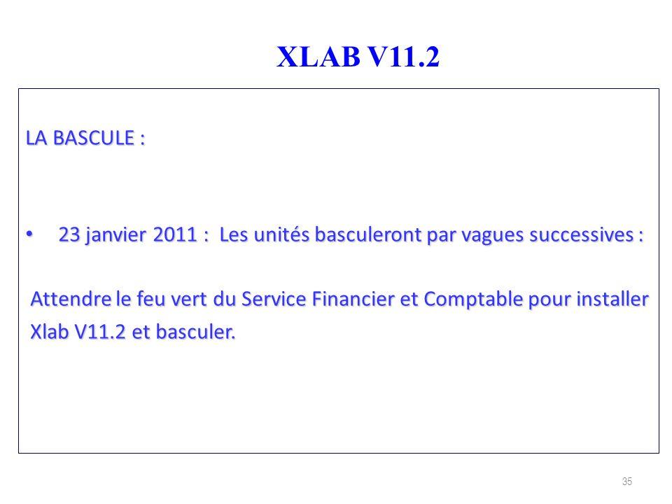 35 XLAB V11.2 LA BASCULE : 23 janvier 2011 : Les unités basculeront par vagues successives : 23 janvier 2011 : Les unités basculeront par vagues succe