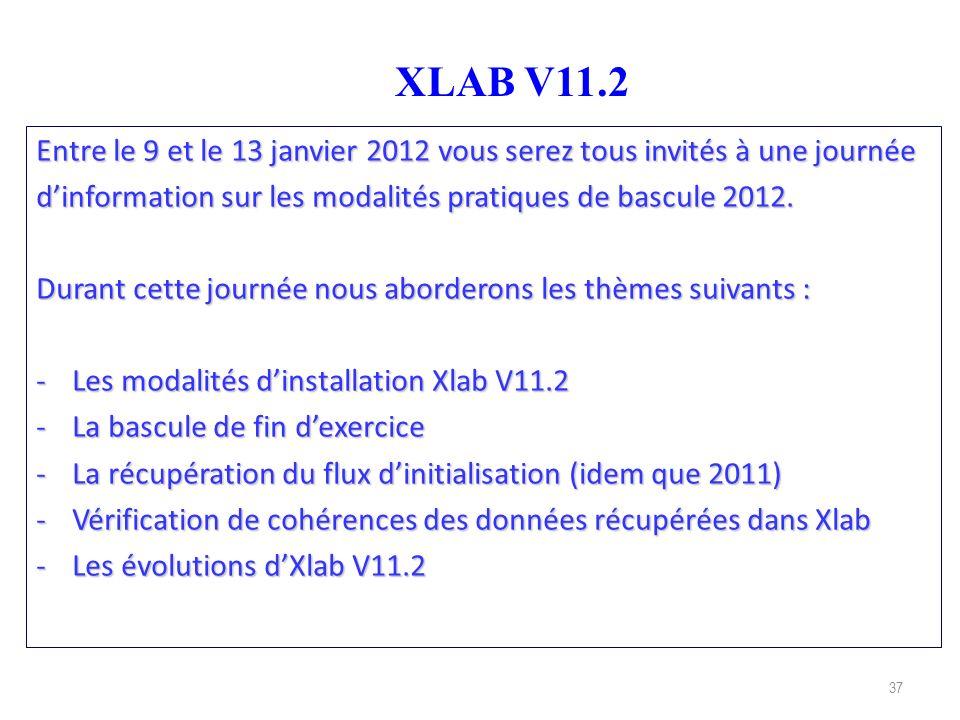 37 XLAB V11.2 Entre le 9 et le 13 janvier 2012 vous serez tous invités à une journée dinformation sur les modalités pratiques de bascule 2012. Durant
