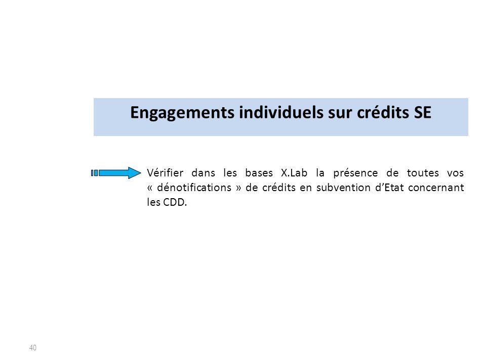 40 Vérifier dans les bases X.Lab la présence de toutes vos « dénotifications » de crédits en subvention dEtat concernant les CDD. Engagements individu