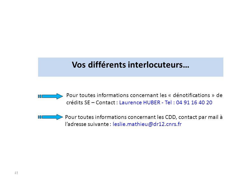 41 Pour toutes informations concernant les « dénotifications » de crédits SE – Contact : Laurence HUBER - Tel : 04 91 16 40 20 Pour toutes information