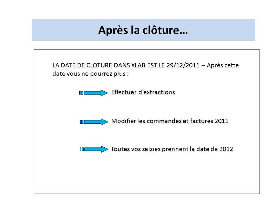 Après la clôture… LA DATE DE CLOTURE DANS XLAB EST LE 29/12/2011 – Après cette date vous ne pourrez plus : Effectuer dextractions Effectuer dextractio