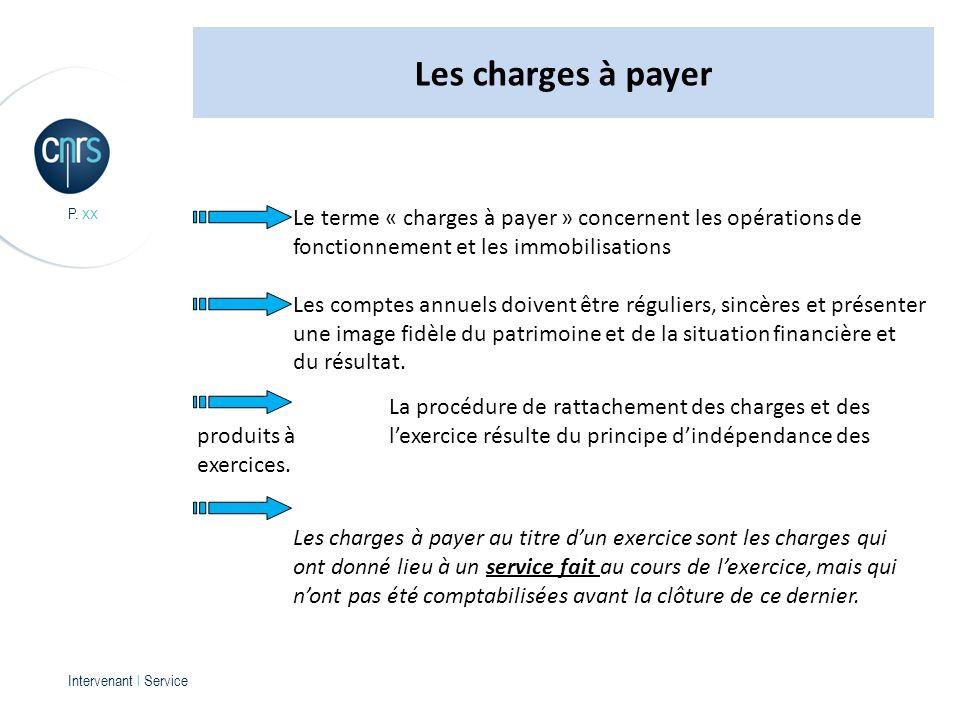 Intervenant l Service P. xx Le terme « charges à payer » concernent les opérations de fonctionnement et les immobilisations Les comptes annuels doiven