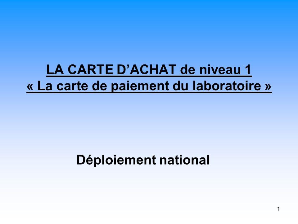 1 LA CARTE DACHAT de niveau 1 « La carte de paiement du laboratoire » Déploiement national