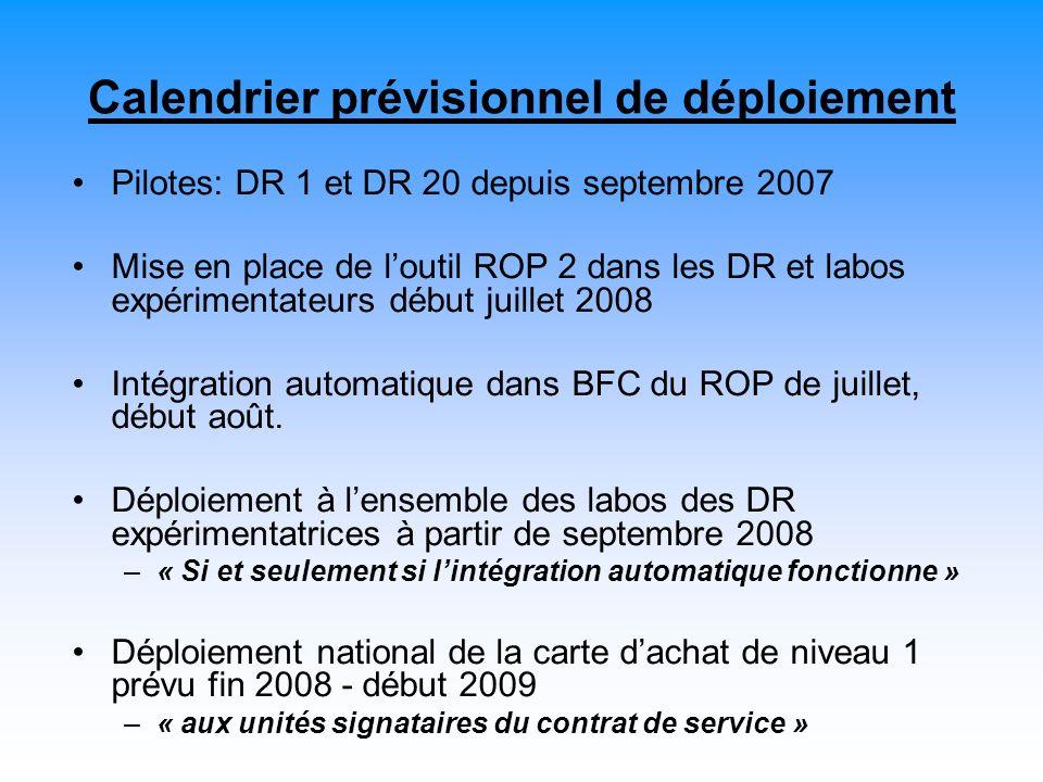 Calendrier prévisionnel de déploiement Pilotes: DR 1 et DR 20 depuis septembre 2007 Mise en place de loutil ROP 2 dans les DR et labos expérimentateurs début juillet 2008 Intégration automatique dans BFC du ROP de juillet, début août.