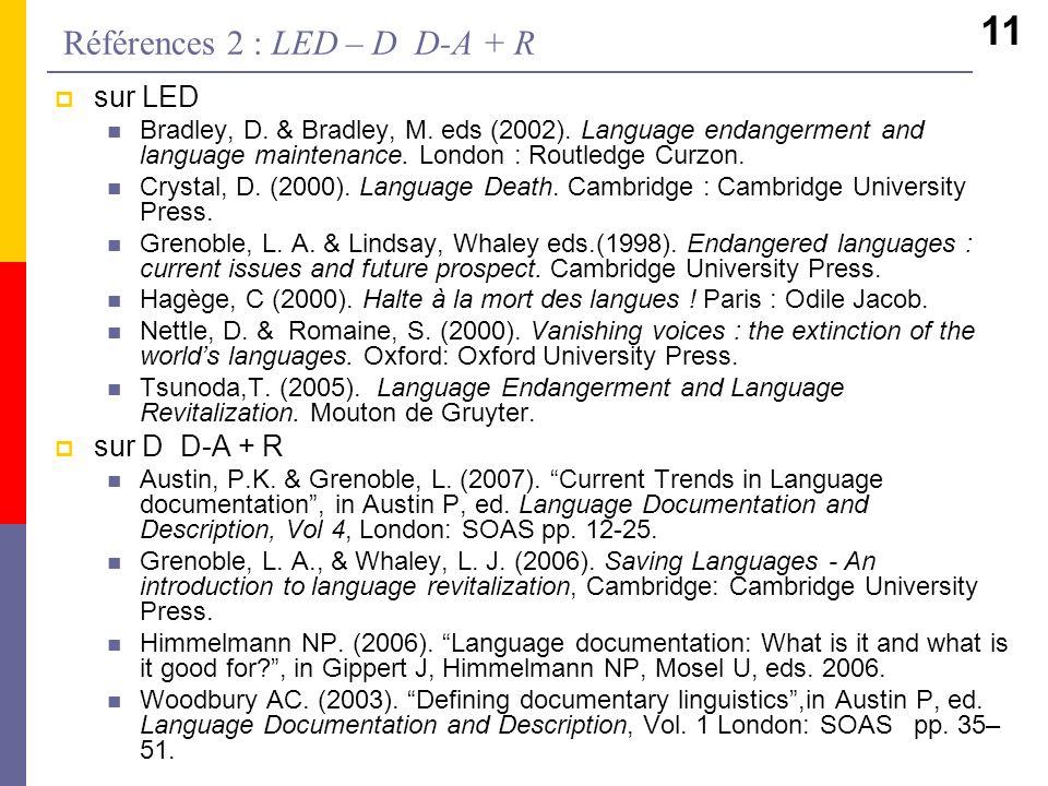 11 sur LED Bradley, D. & Bradley, M. eds (2002). Language endangerment and language maintenance. London : Routledge Curzon. Crystal, D. (2000). Langua