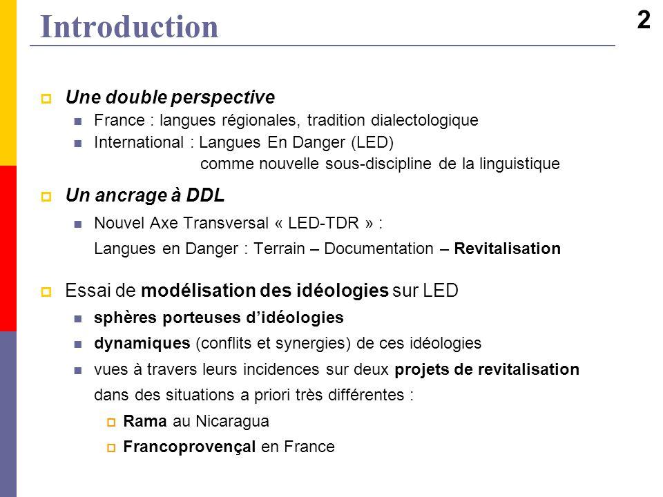 Introduction Une double perspective France : langues régionales, tradition dialectologique International : Langues En Danger (LED) comme nouvelle sous