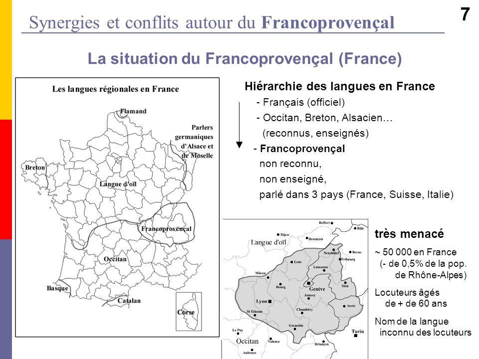 Synergies et conflits autour du Francoprovençal La situation du Francoprovençal (France) Hiérarchie des langues en France - Français (officiel) - Occi