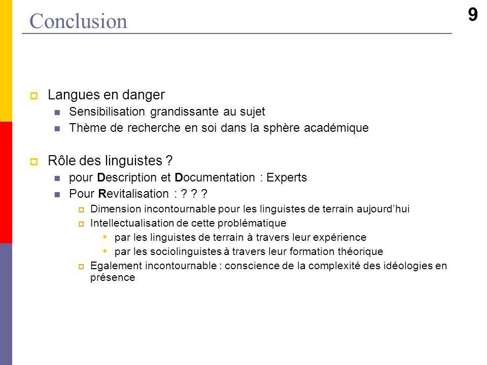 Conclusion Langues en danger Sensibilisation grandissante au sujet Thème de recherche en soi dans la sphère académique Rôle des linguistes ? pour Desc