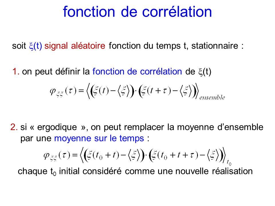 fonction de corrélation soit (t) signal aléatoire fonction du temps t, stationnaire : 1. on peut définir la fonction de corrélation de (t) 2. si « erg