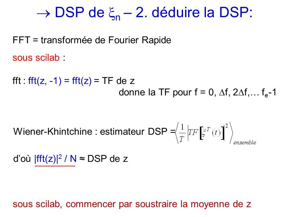DSP de n – 2. déduire la DSP: Wiener-Khintchine : estimateur DSP = doù |fft(z)| 2 / N DSP de z sous scilab, commencer par soustraire la moyenne de z F