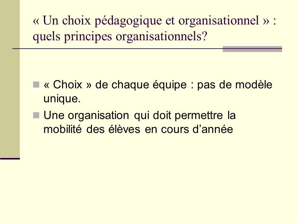 « Un choix pédagogique et organisationnel » : quels principes organisationnels? « Choix » de chaque équipe : pas de modèle unique. Une organisation qu