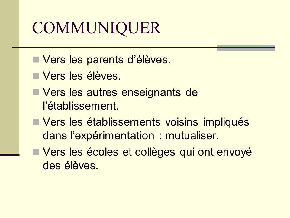 COMMUNIQUER Vers les parents délèves. Vers les élèves. Vers les autres enseignants de létablissement. Vers les établissements voisins impliqués dans l