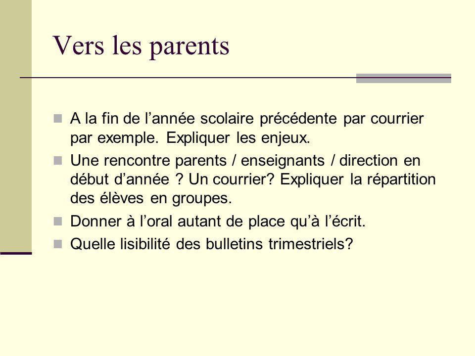 Vers les parents A la fin de lannée scolaire précédente par courrier par exemple. Expliquer les enjeux. Une rencontre parents / enseignants / directio