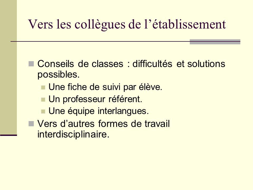 Vers les collègues de létablissement Conseils de classes : difficultés et solutions possibles. Une fiche de suivi par élève. Un professeur référent. U