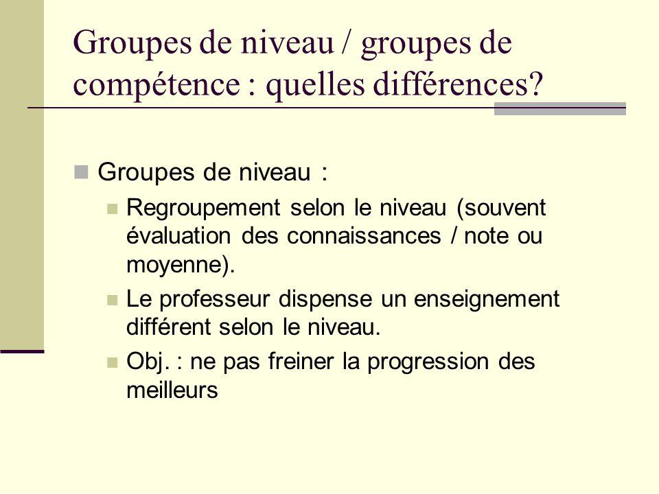 Groupes de niveau / groupes de compétence : quelles différences? Groupes de niveau : Regroupement selon le niveau (souvent évaluation des connaissance