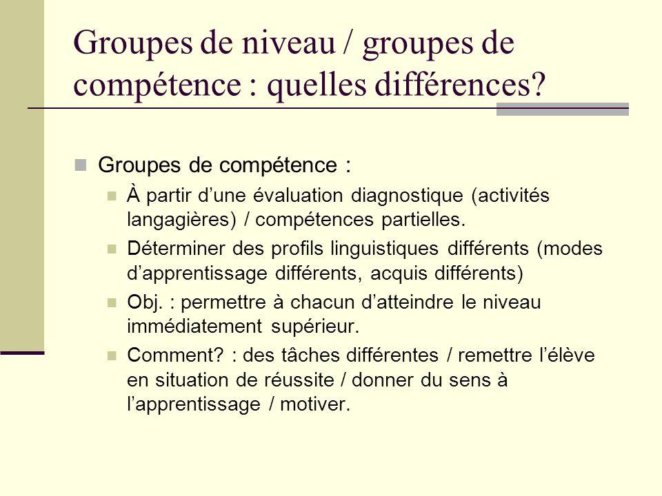 Groupes de niveau / groupes de compétence : quelles différences? Groupes de compétence : À partir dune évaluation diagnostique (activités langagières)