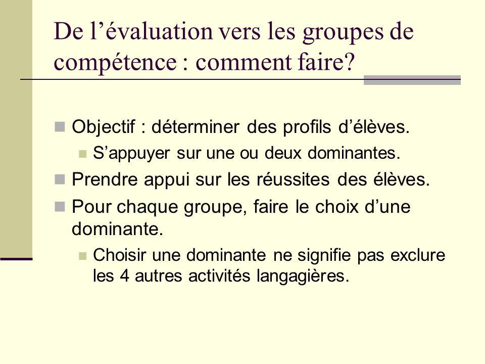 De lévaluation vers les groupes de compétence : comment faire? Objectif : déterminer des profils délèves. Sappuyer sur une ou deux dominantes. Prendre