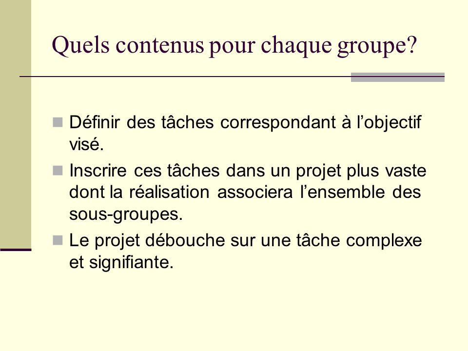 Quels contenus pour chaque groupe? Définir des tâches correspondant à lobjectif visé. Inscrire ces tâches dans un projet plus vaste dont la réalisatio