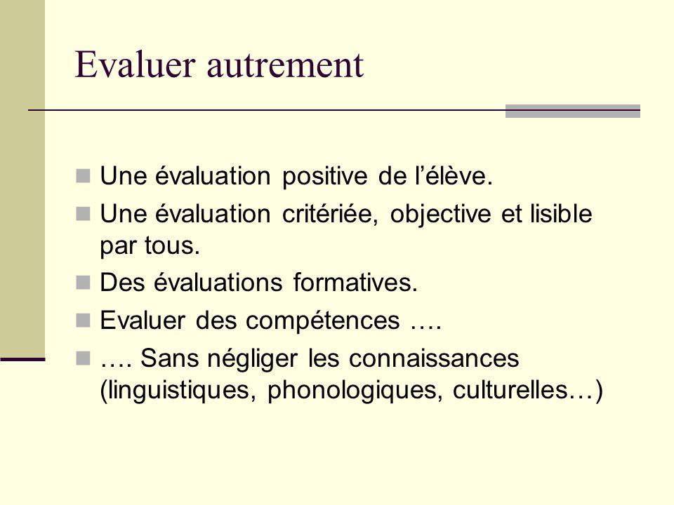 Evaluer autrement Une évaluation positive de lélève. Une évaluation critériée, objective et lisible par tous. Des évaluations formatives. Evaluer des