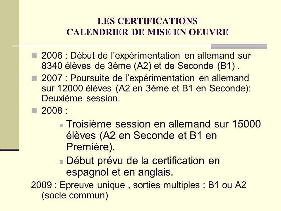 LES CERTIFICATIONS CALENDRIER DE MISE EN OEUVRE 2006 : Début de lexpérimentation en allemand sur 8340 élèves de 3ème (A2) et de Seconde (B1). 2007 : P