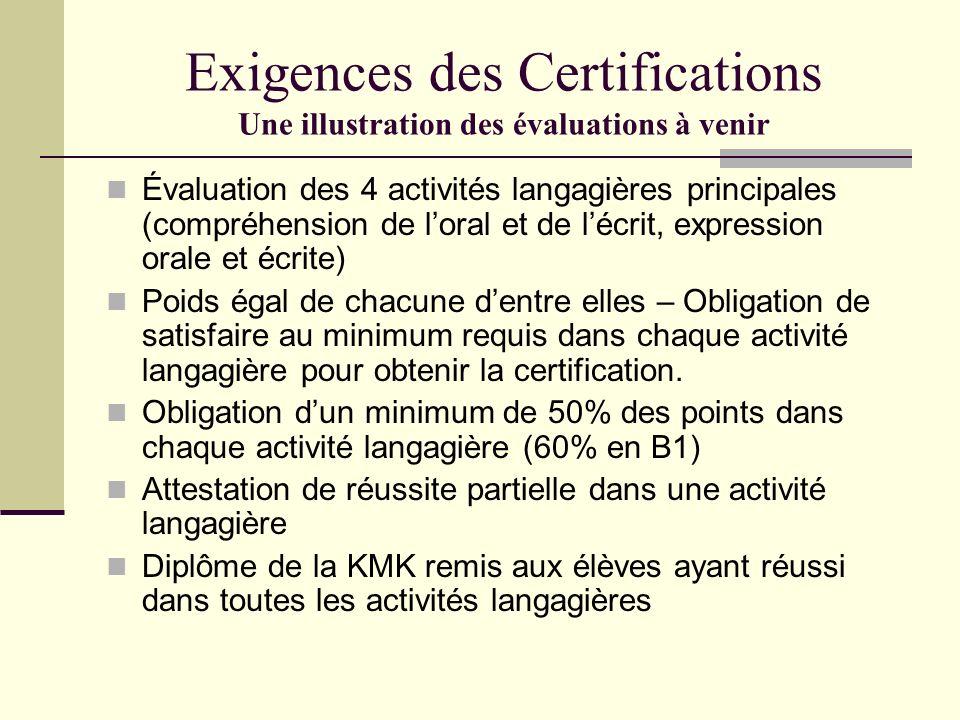 Exigences des Certifications Une illustration des évaluations à venir Évaluation des 4 activités langagières principales (compréhension de loral et de