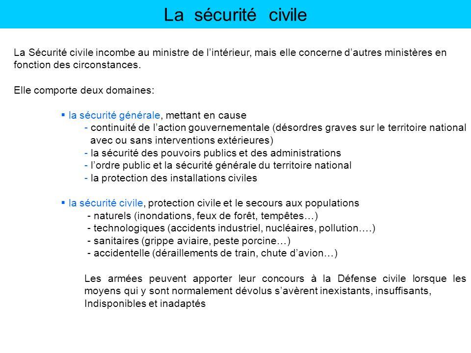 La sécurité civile La Sécurité civile incombe au ministre de lintérieur, mais elle concerne dautres ministères en fonction des circonstances. Elle com