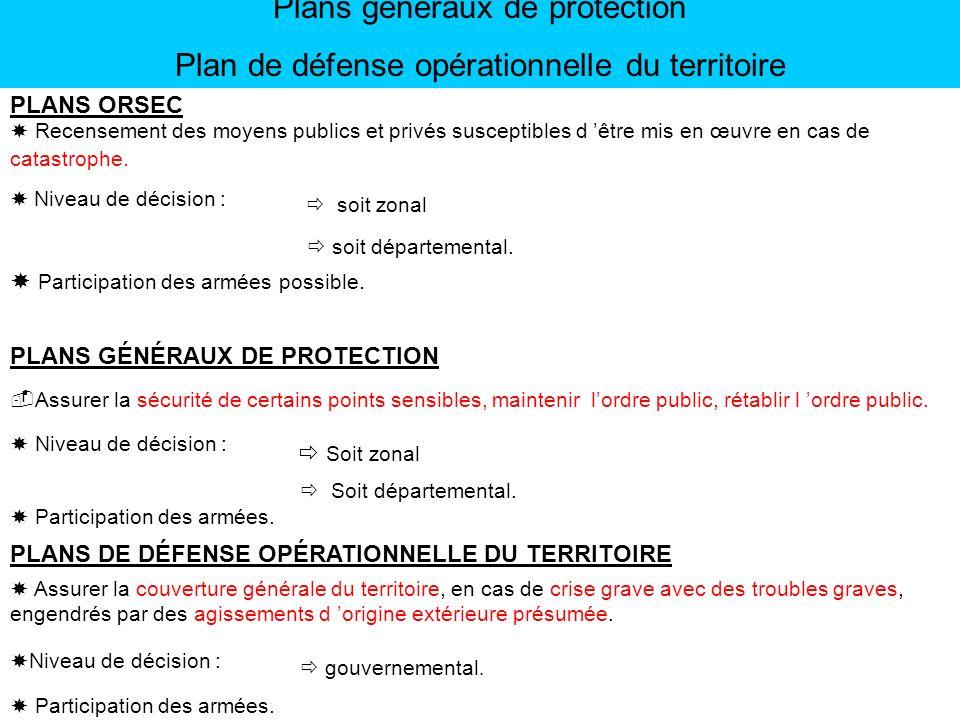 Plans généraux de protection Plan de défense opérationnelle du territoire PLANS GÉNÉRAUX DE PROTECTION Assurer la sécurité de certains points sensible