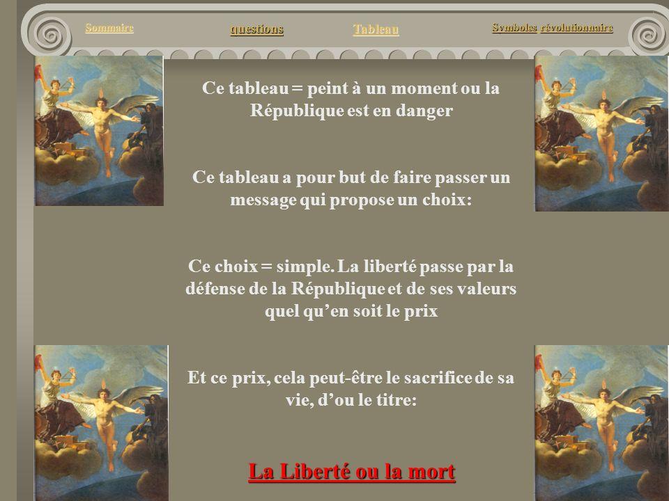 questions Tableau Sommaire Symbolesrévolutionnaire Symboles révolutionnaire Ce tableau = peint à un moment ou la République est en danger Ce tableau a