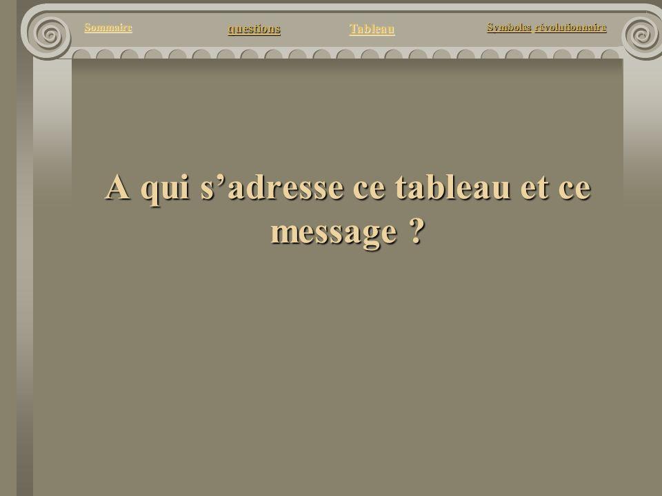 questions Tableau Sommaire Symbolesrévolutionnaire Symboles révolutionnaire A qui sadresse ce tableau et ce message ?