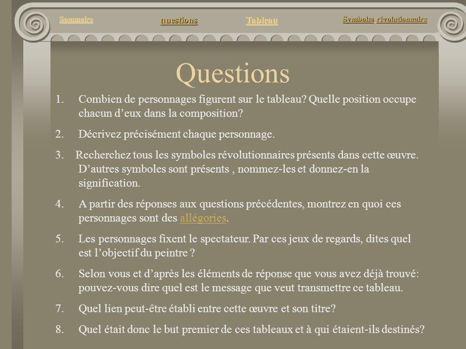 questions Tableau Sommaire Symbolesrévolutionnaire Symboles révolutionnaire Questions 1. 1.Combien de personnages figurent sur le tableau? Quelle posi