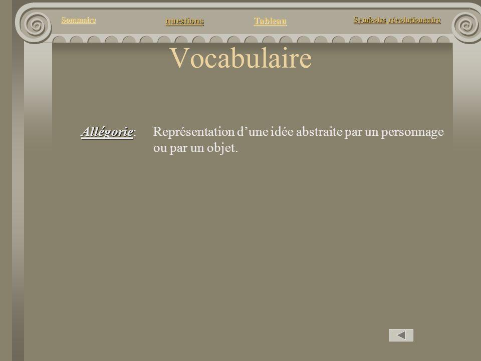questions Tableau Sommaire Symbolesrévolutionnaire Symboles révolutionnaire Vocabulaire Allégorie Allégorie: Représentation dune idée abstraite par un