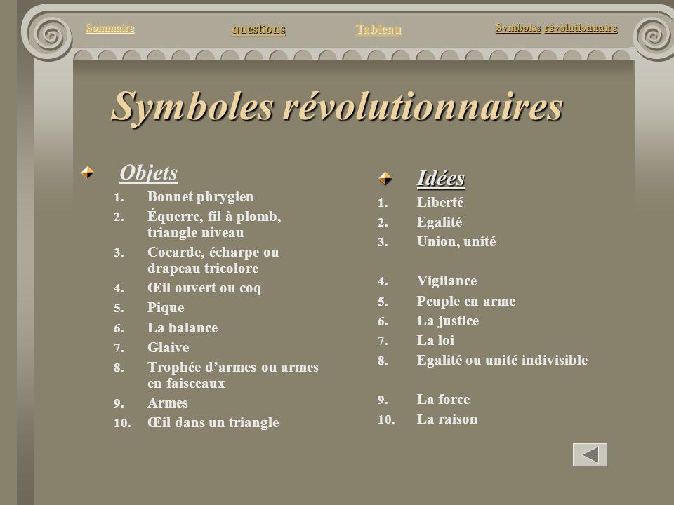 questions Tableau Sommaire Symbolesrévolutionnaire Symboles révolutionnaire Symboles révolutionnaires Objets 1. Bonnet phrygien 2. Équerre, fil à plom