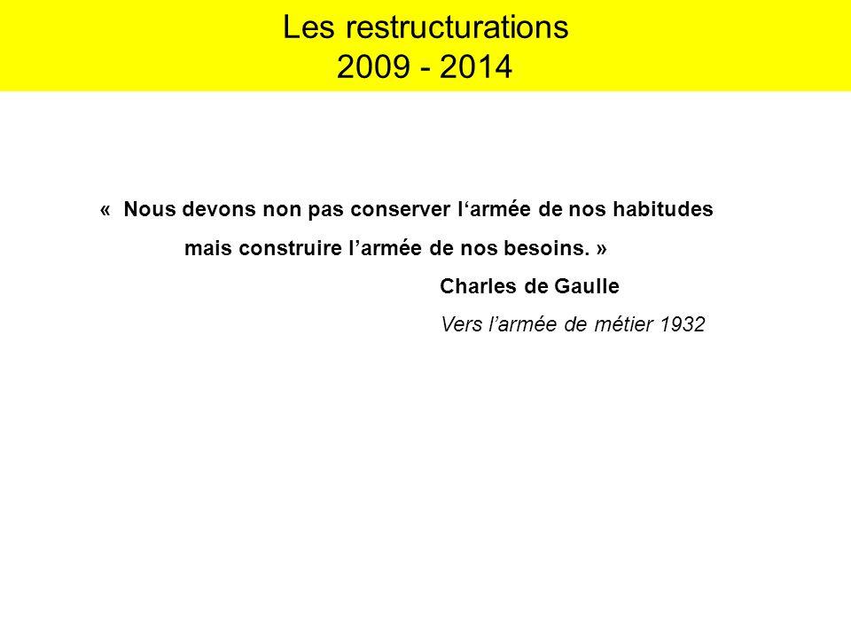 Les restructurations 2009 - 2014 « Nous devons non pas conserver larmée de nos habitudes mais construire larmée de nos besoins. » Charles de Gaulle Ve