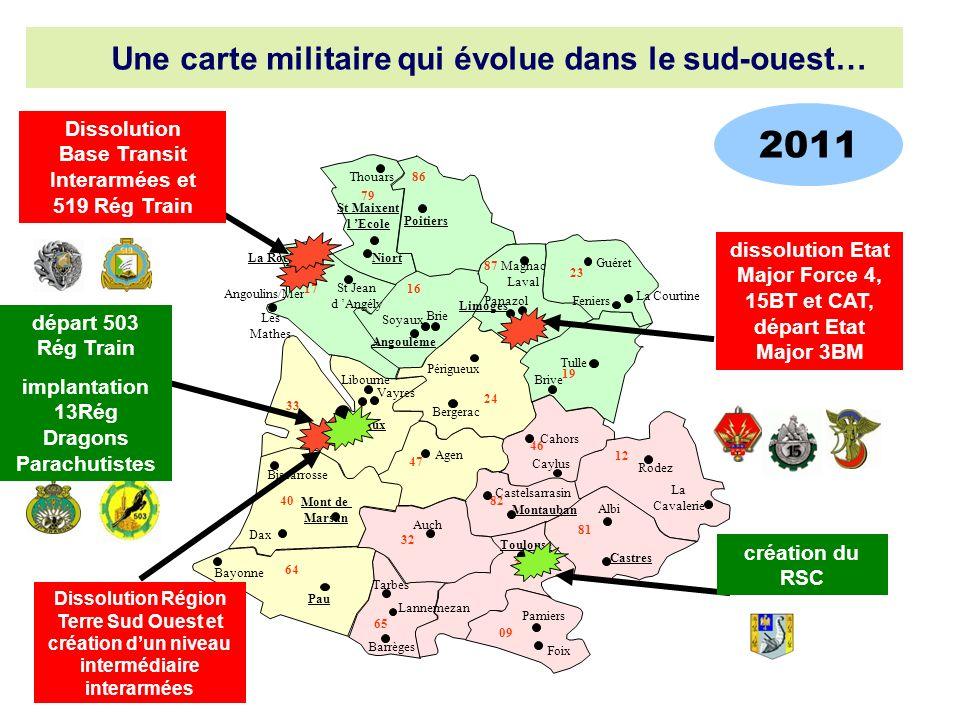 Post 2011 Une carte militaire qui évolue dans le sud-ouest…