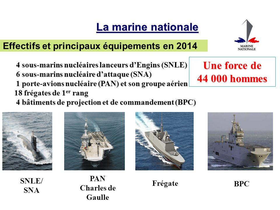 4 sous-marins nucléaires lanceurs dEngins (SNLE) 4 sous-marins nucléaires lanceurs dEngins (SNLE) 6 sous-marins nucléaire dattaque (SNA) 6 sous-marins