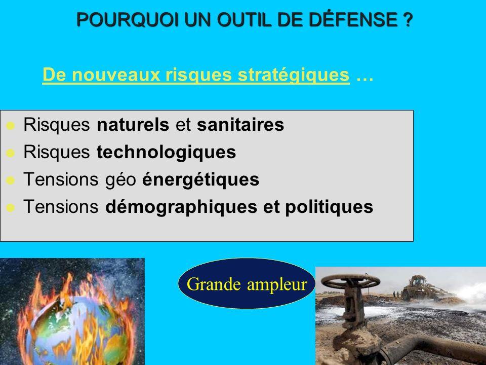 l Risques naturels et sanitaires l Risques technologiques l Tensions géo énergétiques l Tensions démographiques et politiques Grande ampleur De nouvea