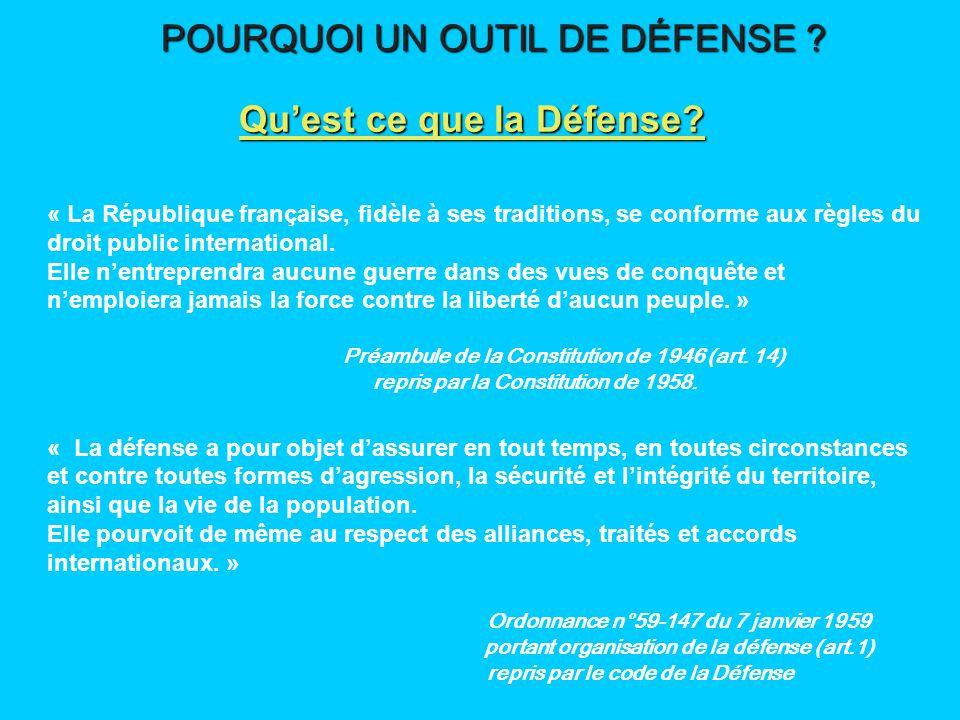 1 - Les intérêts vitaux Intégrité du territoire Libre exercice de la souveraineté Protection de la population POURQUOI UN OUTIL DE DÉFENSE .
