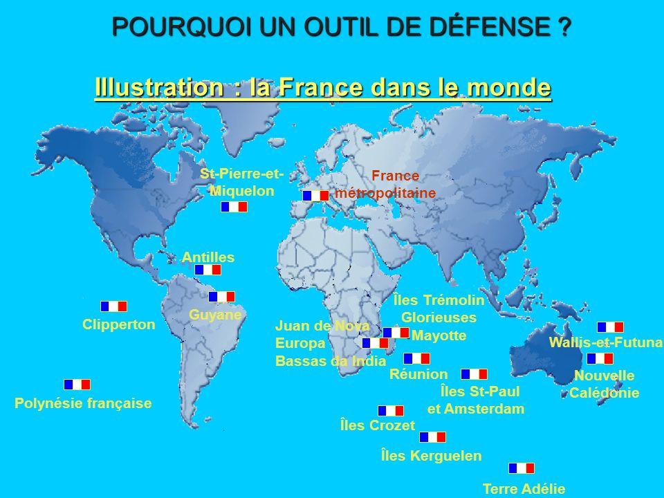 Stabilité des zones géographiques proches Protection des échanges économiques 2 - Les intérêts stratégiques POURQUOI UN OUTIL DE DÉFENSE .