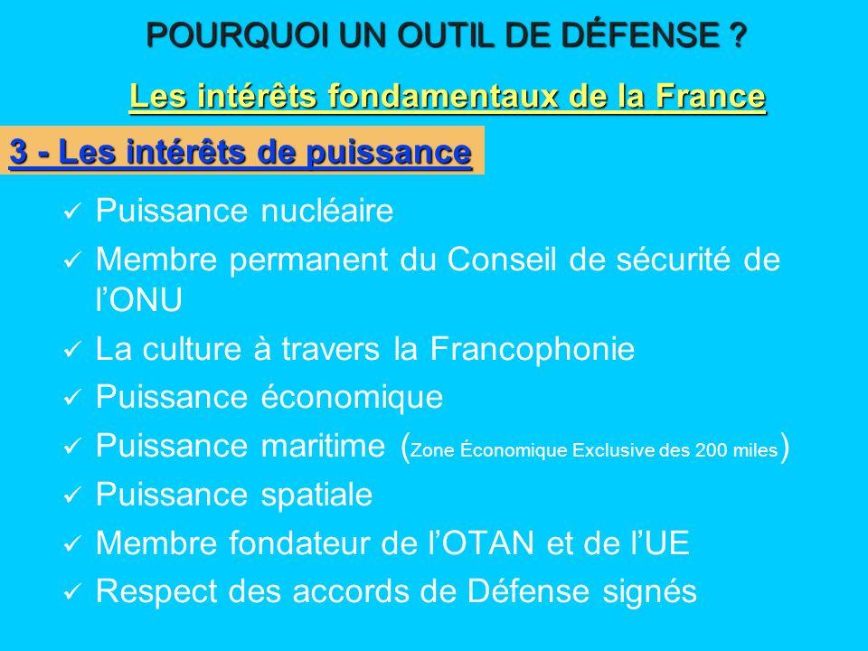 Puissance nucléaire Membre permanent du Conseil de sécurité de lONU La culture à travers la Francophonie Puissance économique Puissance maritime ( Zon