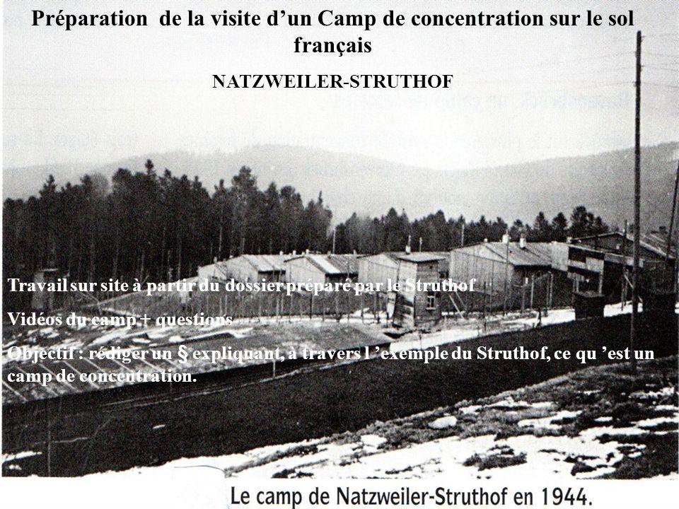 Préparation de la visite dun Camp de concentration sur le sol français NATZWEILER-STRUTHOF Travail sur site à partir du dossier préparé par le Strutho