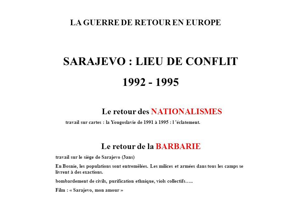 LA GUERRE DE RETOUR EN EUROPE SARAJEVO : LIEU DE CONFLIT 1992 - 1995 Le retour des NATIONALISMES travail sur cartes : la Yougoslavie de 1991 à 1995 :
