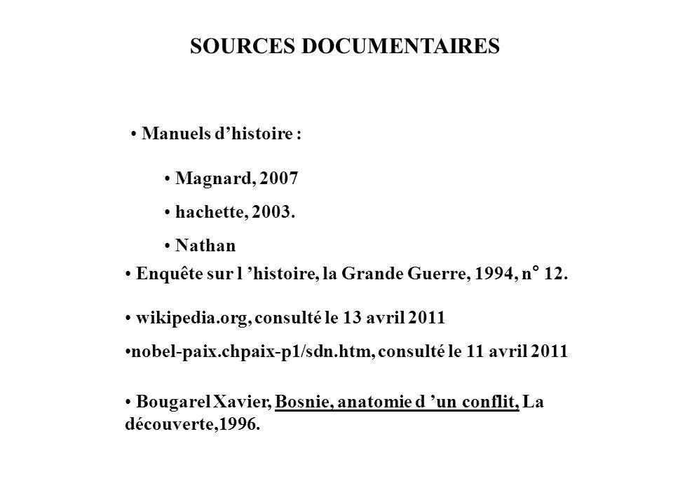 SOURCES DOCUMENTAIRES Manuels dhistoire : Magnard, 2007 hachette, 2003. Nathan Enquête sur l histoire, la Grande Guerre, 1994, n° 12. wikipedia.org, c