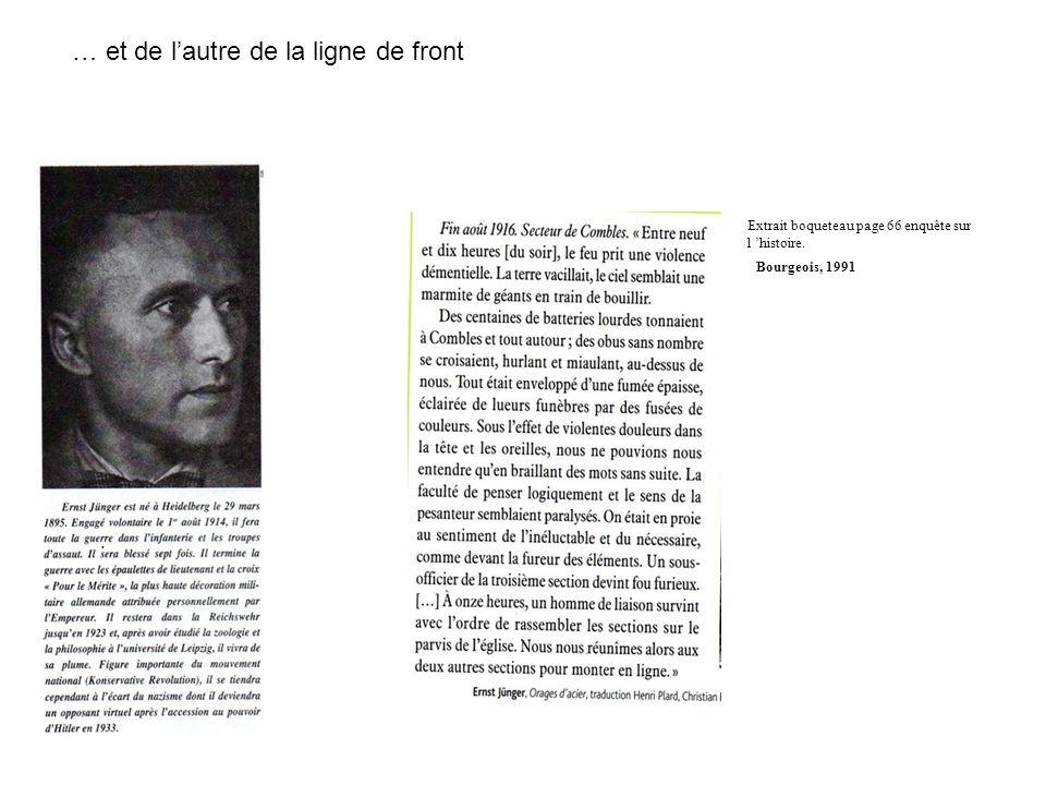 … et de lautre de la ligne de front Bourgeois, 1991 Extrait boqueteau page 66 enquête sur l histoire.