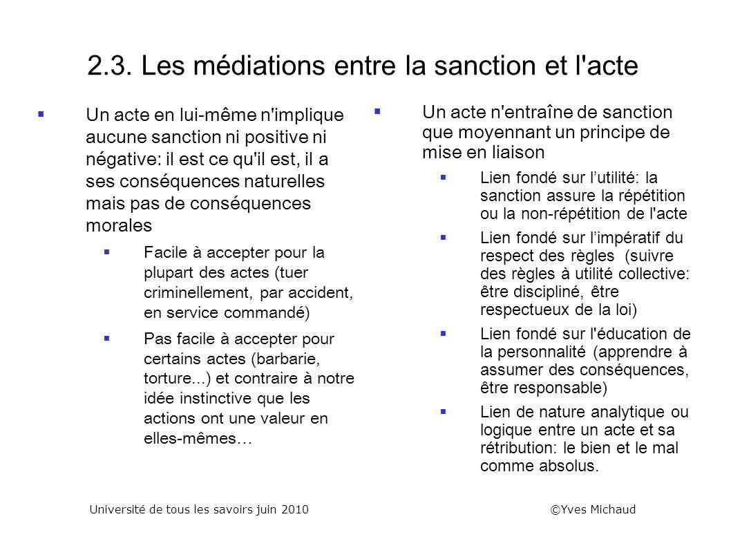 2.3. Les médiations entre la sanction et l'acte Un acte en lui-même n'implique aucune sanction ni positive ni négative: il est ce qu'il est, il a ses